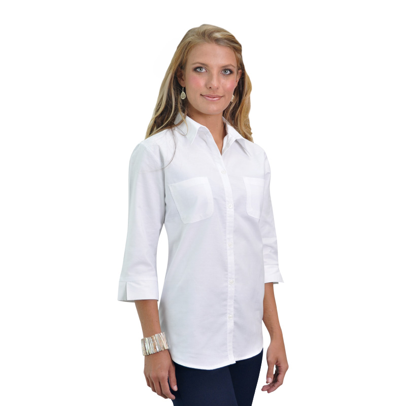 Ladies woven chambray shirt the clothing co for Chambray shirt women