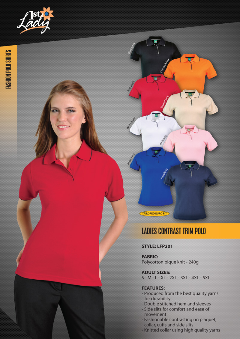 cd18a77580 Ladies Contrast Trim Polo - The Clothing Co